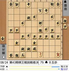 8月24日棋王戦79手目棋譜