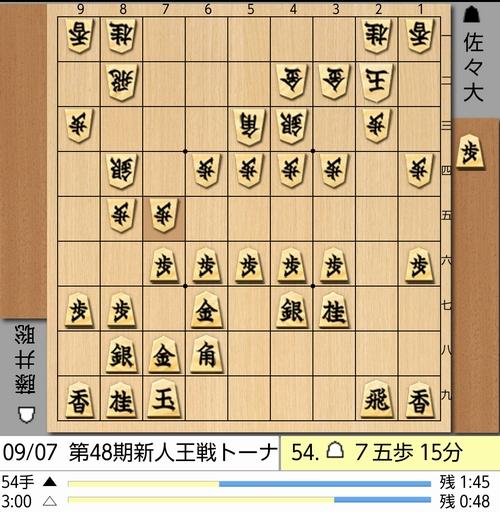 9月7日新人王戦54手目棋譜