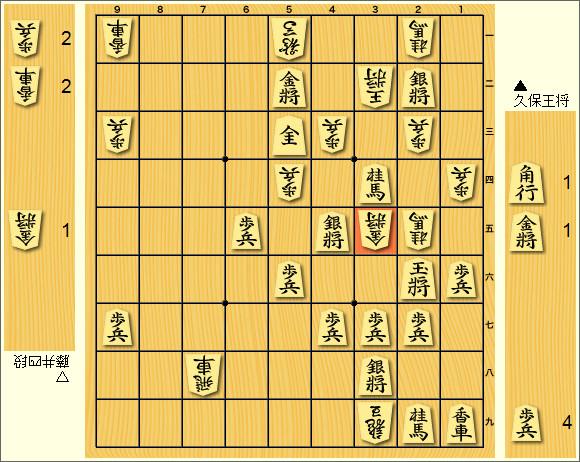 藤井四段VS久保王将(現九段)投了図