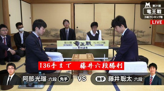 藤井聡太六段VS阿部光瑠六段【第31期竜王戦】(2018/4/10)速報!結果