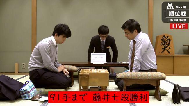 藤井聡太七段VS富岡英作八段【第77期順位戦】(2019/1/8)速報!結果