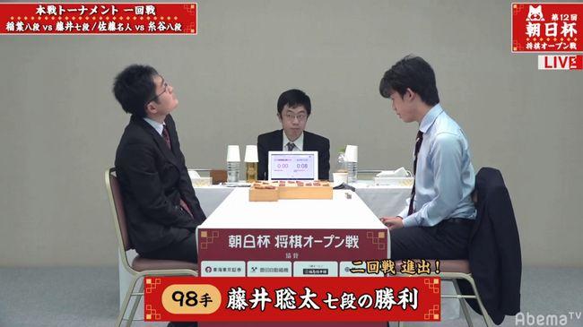 藤井聡太七段VS稲葉陽八段【朝日杯】(2019/1/20)速報!結果