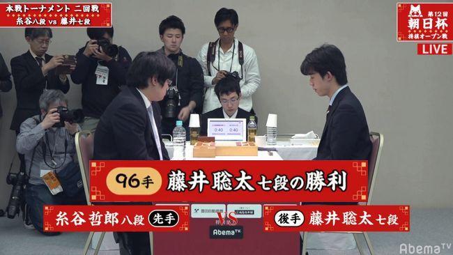 藤井聡太七段VS糸谷哲郎八段【朝日杯】(2019/1/20)速報!結果