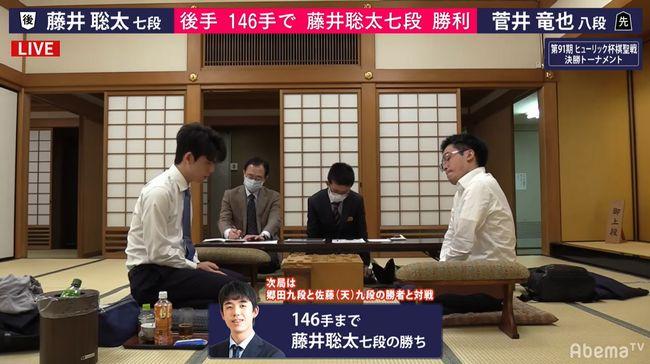 藤井聡太七段vs菅井竜也八段※速報・結果【第91期棋聖戦】(2020/3/31)