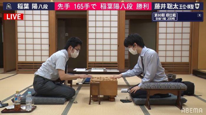 藤井聡太二冠vs稲葉陽八段※速報・結果【第80期B1順位戦】(2021/6/3)