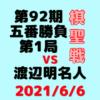 藤井聡太二冠vs渡辺明名人※速報・結果【第92期棋聖戦第1局】(2021/6/6)