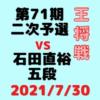 藤井聡太二冠VS石田直裕五段※結果【第71期王将戦二次予選】(2021/7/30)